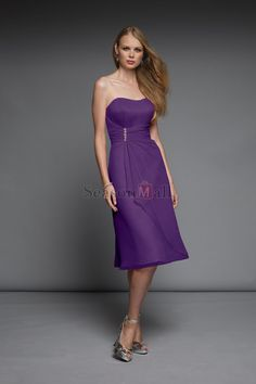 Strapless 2012 Collection Blue Chiffon Purple Bridesmaid Dresses Under 100