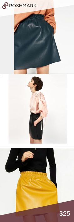 Zara Faux Leather Skirt in Black Mini Zara Faux Leather Skirt Mini in Black. With side pockets. Gathered elastic waist. Super comfortable to wear. Zara Skirts Mini
