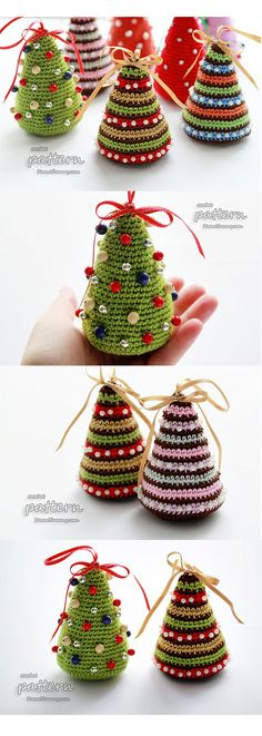 These happy little crochet Christmas trees are adorable! With a few bits and bobs from your Christmas craft supply and a little bit of yarn, you could have a whole Christmas tree forest in no time! I especially love the alternate color scheme with browns and pinks, but the traditional green with colorful beads is cute too! Which one will you make? (affiliate link)