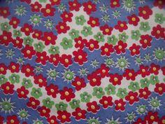 Vintage Red Blue Green Floral Garden Cotton Fabric   eBay
