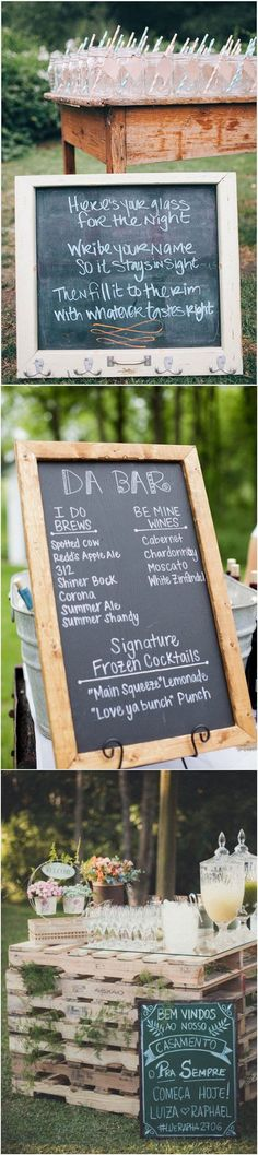 outdoor wedding drink stations with chalkboard signs