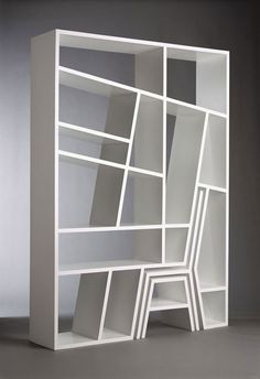 This is too cute - Titanic shelves by Viable London, a chair and table pull out from the unit