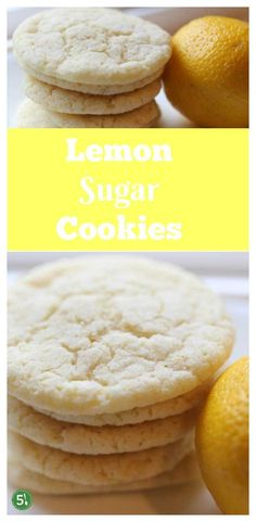 Easy Lemon Sugar Cookies recipe for soft and chewy cookies that would also work well for cutout cookies. #lemoncookies #cookies #lemon
