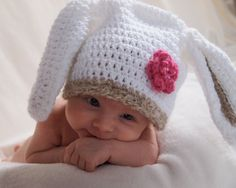 Baby Easter Bunny Hat.  How can you NOT smile after seeing this sweetie!