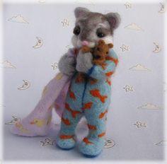 Needle Felted Cat - 'The Cat's Pyjamas' Sleepy Kitten in PJs MADE TO ORDER Art Doll Animal Model Kitty by Mythillogical on Etsy https://www.etsy.com/listing/157463024/needle-felted-cat-the-cats-pyjamas