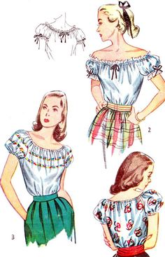 juniors peasant shirt pattern | 1940s Blouse Pattern Simplicity 2127 Junior Teen Off Shoulder Puff ... boho chic peasant shirt