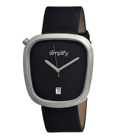 This Silver & Black The 1400 Leather-Strap Watch by Simplify is perfect! #zulilyfinds