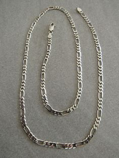 Sterling silver Figaro link curb chain necklace Italian made