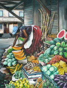Caribbean Painting - Caribbean Market Day by Karin Dawn Kelshall- Best Jamaican Art, Fine Art Amerika, Caribbean Art, Caribbean Culture, Haitian Art, Black Art Pictures, Art Africain, Tropical Art, Poster S