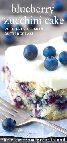 Blueberry Zucchini Snack Cake with Lemon Buttercream ~ this easy snack cake combines the best of summer into one delicious treat, and since blueberries, zucchini, and lemons are available all year round, you never have to go without this yummy cake! Blueberry Recipes, Blueberry Cake, Lemon Blueberry Zucchini Cake Recipe, Recipes With Blueberries, Healthy Blueberry Desserts, Lemon Buttercream, Summer Dessert Recipes, Best Summer Desserts, Summer Cakes