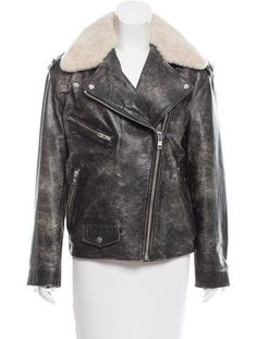 Charcoal Étoile Isabel Marant distressed leather biker jacket featuring epaulets at shoulders, shearling trim at collar, dual zip pockets, zipper accents at cuffs and asymmetrical zip closure at front.