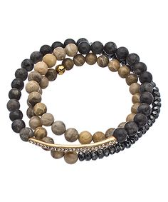 K. Amato Fossil Coral & Grey Labradorite Triple Wrap Stretch Bracelet