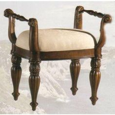 pulaski edwardian bedroom - Bench for dressing table.  I had mine recovered in a beautiful fabric to go with the fabrics in the room.