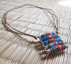 Recycled Paper Bead necklace - from hippiekingdom on Etsy $17  #jewelry #ecofriendly #handmade