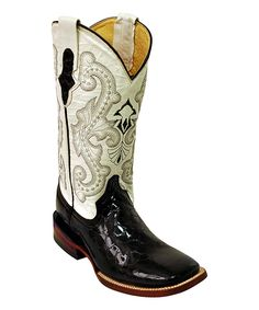 Look what I found on #zulily! Ferrini Black & Pearl Gator Square-Toe Leather Cowboy Boot by Ferrini #zulilyfinds