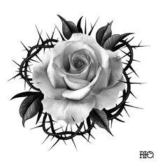 Rose Drawing Tattoo, Tattoo Drawings, Body Art Tattoos, Skull Tattoo Flowers, Rose Flower Tattoos, Tattoo Studio, Graffiti Tattoo, Mago Tattoo, Realistic Flower Tattoo
