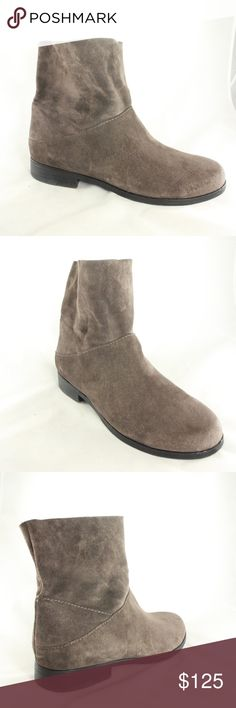 LIKE NEW Eileen Fisher Gray Suede Pull Ankle Boots Like new condition. Vintage, no longer in production Sole is near mint condition. Upper is 10/10 condition, very soft gray suede. Super comfortable Italian made boots by Eileen Fisher. Size 10 Eileen Fisher Shoes Ankle Boots & Booties