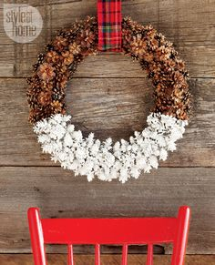 DIY paint dipped pinecone wreath