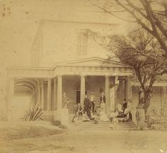 Sydney Architecture Images- Demolished - Craigend, built 1829. The Peachy Family are on the veranda Darlinghurst.