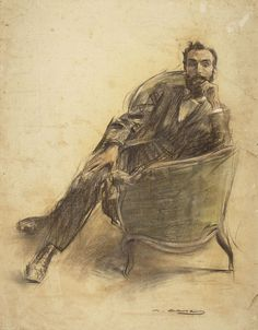 Portrait of Jaume Brossa (Ramon Casas y Carbó - ) Fine Art Drawing, Guy Drawing, Drawing People, Figure Drawing, Painting & Drawing, Sharpie Drawings, Art Drawings, Ramones, Modernisme