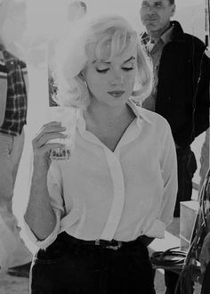 Marilyn Monroe photographed on the set of The Misfits (1961).