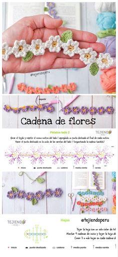 Un paso a paso divertido y fácil a #crochet para aprovechar los restos de hilos y lanas 😁  Esta cadena de flores puede ser un marcador de libros, brazalete, aplique, etc 🥰 Craft Fairs, Crochet Flowers, Knit Crochet, Blog, Crochet Patterns, Arts And Crafts, Tapestry, Sewing, Knitting