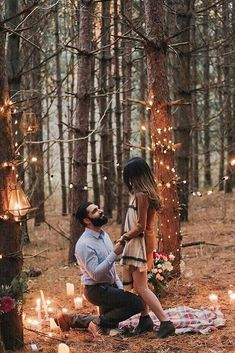 A proposal in the woods twinkling lightsYou can find Proposal photos and more on our website.A proposal in the woods twinkling lights Winter Proposal, Romantic Proposal, Perfect Proposal, Romantic Weddings, Christmas Proposal, Romantic Surprise, Surprise Wedding, Green Weddings, Romantic Ideas