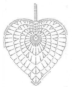 Ideas Crochet Heart Diagram Link For 2019 Appliques Au Crochet, Crochet Leaf Patterns, Crochet Leaves, Crochet Motifs, Crochet Squares, Crochet Designs, Crochet Doilies, Crochet Flowers, Filet Crochet
