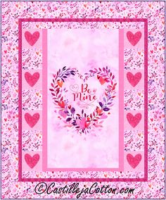 """Panel with appliqued heart border blocks alternated with plain blocks. Panel quilt pattern. Finished Size: Lap/Throw 48"""" x 58"""" Skill Level: Advanced Beginner Technique: Pieced/Fusible Applique Heart Border, Panel Quilts, Fabric Panels, Quilt Patterns, Applique, Seasons, Prints, Quilt Pattern, Seasons Of The Year"""