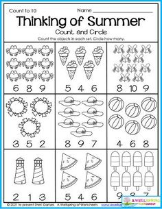 Kindergarten counting worksheets for July abound in this set of 30 worksheets created for the summer month of July. Super cute Fourth of July worksheets included, too! Counting Worksheets For Kindergarten, Summer Worksheets, Graphing Worksheets, Alphabet Tracing Worksheets, Tracing Letters, Upper And Lowercase Letters, Lower Case Letters, Writing Lines, Month Of July