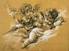 1745-1765 --- Drawing of Cherubs Attributed to Francois Boucher