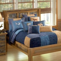 House of Quilts — Patchwork Quilt Designs — Donna Sharp — Denim Square (King Quilt) Donna Sharp Quilts, Blue Jean Quilts, Single Quilt, King Pillows, Quilt Sizes, Queen Quilt, Square Quilt, Bedding Sets, Interior