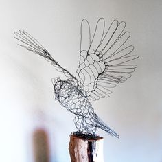 Great Horned Owl Wire Sculpture. $450.00, via Etsy.