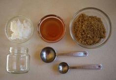 DIY Lip Scrub. Super easy, cheap, and works well!   You'll need:  pure coconut oil honey brown sugar a teaspoon a tablespoon a mixing bowl an empty jar or 2.5 oz baby food jar labels (optional)  Make sure that the coconut oil is solid enough to scoop up but soft enough for a spoon to dig in. If the coconut oil is too oily, stick it in the fridge for 10-20 minutes. If the coconut oil is too hard, place it into a sink filled with hot water for 5-10 minutes or until soft. Combine one…