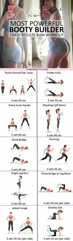 Most Powerful Booty Builder Crazy Results Bum Workout Fitness Workouts, Sport Fitness, At Home Workouts, Health Fitness, Yoga Fitness, Circuit Workouts, Easy Fitness, Muscle Fitness, Fitness Motivation