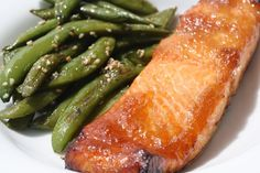 Salmon roasted with ginger jam, soy sauce, and sesame oil.