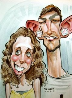 Here are a couple more caricatures drawn at Busch Gardens.  I'm not particularly excited about these two, but they seemed to get a good cro...