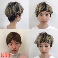 内田聡一郎さんはInstagramを利用しています:「今日の島根セミナー。モデルビフォーアフター。 長短のある短め前髪。アッシュベージュのハイライトにイエローのセクションカラー。 長短のあるデザインショート。 #vetica #島根 #ダリア #ルベル #ビフォーアフター #ショートボブ #美容師 #美容室 #hair…」 Short Hair Undercut, Undercut Hairstyles, Cute Hairstyles, Perm, Fashion Books, Girls Out, Dyed Hair, Short Hair Styles, Hair Cuts
