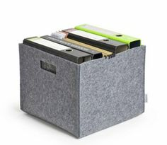 Wool Felt Storage Organizer-Grey.Felt carry and storage box, for folders, toys, newspapers Various uses as shopping basket and universal carry box Suitable for folders and hanging file folders, LPs, ideal as mobile home office, for the boot or the supermarket