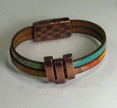 Turquoise and Orange Flat Leather Bracelet with Copper Accents
