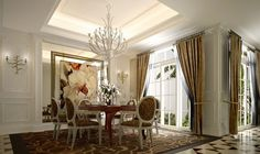 French-window-dining-room-neoclassical-style