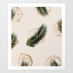 Palm Leaves + Geometric Pattern<br/> illustration, art, abstract, digital, nature, botanical, foliage, golden