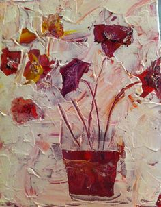"""""""Abigail""""  Here's a floral themed abstract I did recently with acrylic and knives on canvas. I like its soft, soothing colors, and the opportunity to fill in the details on my own when I view it. Plus, it's sweet and simple like my little Abigail."""