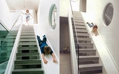 Fantastic idea -Architect michaelis-boyd-staircase-slide in his home -shared by remodelista Basement Stairs, House Stairs, Casa Hygge, Stair Slide, Escalier Design, Indoor Climbing, Kids Climbing, Climbing Wall, Beautiful Stairs