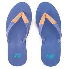 UGG Women's Ruby Wedged Flip Flops ($41) ❤ liked on Polyvore featuring shoes, sandals, flip flops, blue, blue wedge flip flops, blue sandals, strap sandals, ugg sandals and blue wedge shoes