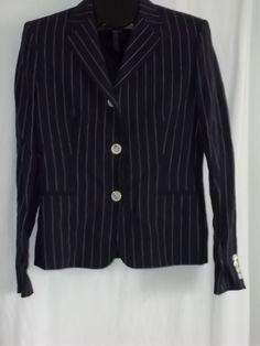 Ralph Lauren Multi-Color Navy Blue White Stripe Blazer Jacket Size: 8 #RalphLauren #Jacket
