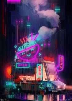 I painted this late night ramen scene :) : Cyberpunk Cyberpunk City, Cyberpunk 2077, Ville Cyberpunk, Cyberpunk Aesthetic, Cyberpunk Fashion, Aesthetic Japan, Night Aesthetic, City Aesthetic, Japanese Aesthetic
