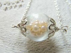 Glass Globe Hand Blown Necklace Pearl Whimsical Bridal Jewellery - BEAUTIFUL  £20.00