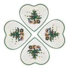 Nikko 5-3/4-Inch Christmas Tree Heart Dish Gift Boxed, Set of 4 by Nikko. $22.00. The Nikko Christmas Giftware line offers serving and table accessory items with the traditional Christmas tree design that matches both Nikko's Happy Holidays and Christmastime dinnerware patterns. The Set of four heart trays are great for snacks, appetizers, or as side dishes on the table. Each dish is 5-3/4-inch across, about the size of a normal bread and butter plate. The set comes gift boxed. E...