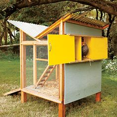 This DIY coop nods back to the era of midcentury Modernism with its inverted butterfly roof. The water-wise design funnels rainwater directly from the roof to the chickens. The hens can dwell in a cabinet-like nesting nook and climb up and down the two levels with an adorably petite ladder.